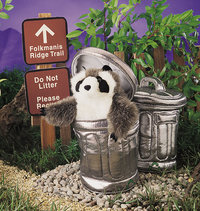 Puppet Raccoon in Garbage Can