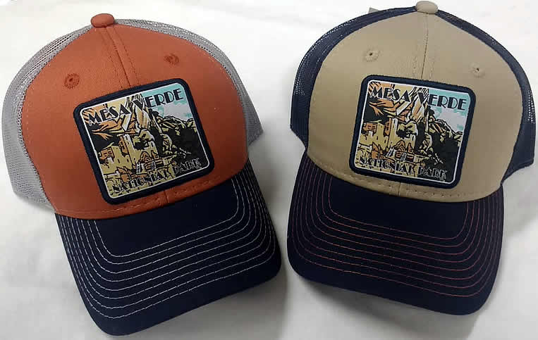 e9a35be0e32128 Our mesh-back trucker hat features a highly detailed patch of Cliff Palace.  Cotton and polyester with adjustable back strap. Available in  orange/gray/blue ...